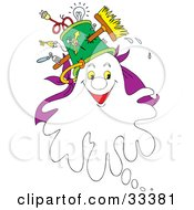 Clipart Illustration Of A Friendly White Ghost Wearing A Hat As A Pail With A Broom And Electrical Items