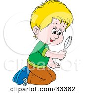 Clipart Illustration Of A Curious Blond Boy Kneeling On The Ground And Peering Through A Magnifying Glass
