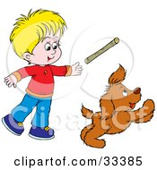 Clipart Illustration Of A Little Blond Boy Throwing A Stick While Playing Fetch With His Puppy