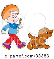 Clipart Illustration Of A Red Haired Boy Carrying A Stick And Walking With His Puppy About To Play Fetch