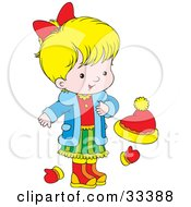 Clipart Illustration Of A Little Blond Girl Wearing A Blue Jacket Red Shirt And Green Skirt Standing By Mittens And A Ha by Alex Bannykh