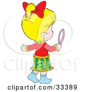 Clipart Illustration Of A Little Blond Girl Admiring Herself In A Hand Mirror