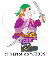 Clipart Illustration Of A Red Haired Male Pirate In A Blue Bandana And Purple Jacket Holding Swords by Alex Bannykh