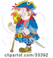 Clipart Illustration Of A One Legged Pirate Smoking A Pipe Carrying A Sword Cane And Map And Standing With A Parrot On His Shoulder by Alex Bannykh