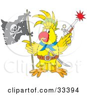 Clipart Illustration Of A Yellow Parrot Pirate Holding A Flag And Shooting A Pistil by Alex Bannykh