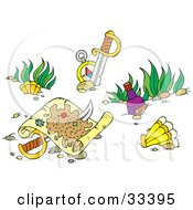 Clipart Illustration Of A Sword Through A Sunken Treasure Map At The Bottom Of The Sea