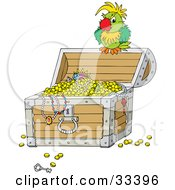 Clipart Illustration Of A Grouchy Green Parrot Perched Atop An Open Treasure Chest by Alex Bannykh