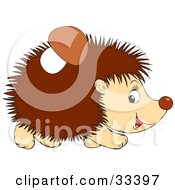 Clipart Illustration Of A Mushroom Stuck To A Hedgehogs Back by Alex Bannykh