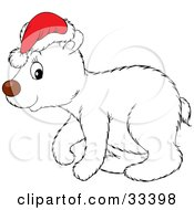 Clipart Illustration Of A Cute Polar Bear Cub In Profile Wearing A Santa Hat by Alex Bannykh