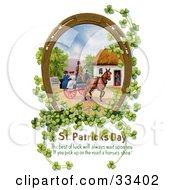 Clipart Illustration Of A Gilded Lucky Horse Shoe With Clovers Surrounding A Scene Of Ladies Riding On A Horse Drawn Wagon by OldPixels