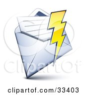 Clipart Illustration Of A Lightning Bolt Over A Letter In An Open Envelope by beboy