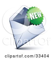 Clipart Illustration Of A Green Burst Shaped New Sticker Over An Open Envelope