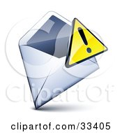 Clipart Illustration Of A Yellow Exclamation Point Icon Over An Open Envelope by beboy