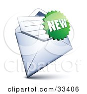 Clipart Illustration Of A Green Burst Shaped New Sticker Over A Letter In An Open Envelope
