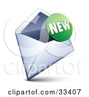 Clipart Illustration Of A Green New Sticker Over An Open Envelope