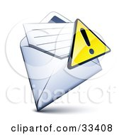 Clipart Illustration Of An Exclamation Point Icon Over A Letter In An Open Envelope