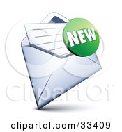 Clipart Illustration Of A Green New Sticker Over A Letter In An Open Envelope