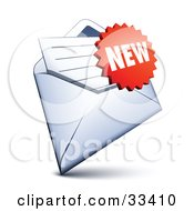 Clipart Illustration Of A Red Burst Shaped New Sticker Over A Letter In An Open Envelope
