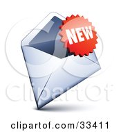 Clipart Illustration Of A Red Burst Shaped New Sticker Over An Open Envelope