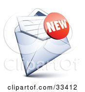 Clipart Illustration Of A Red New Sticker Over A Letter In An Open Envelope