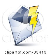 Clipart Illustration Of A Lightning Bolt Over An Open Envelope by beboy