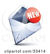Clipart Illustration Of A Red New Sticker Over An Open Envelope