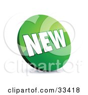 Clipart Illustration Of A Circular Green Label With White NEW Text by beboy