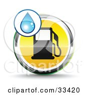 Clipart Illustration Of A Blue Water Drop Over A Chrome And Yellow Fuel Icon With A Black Gas Pump Symbolizing Water Powered Cars