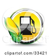 Clipart Illustration Of An Ear Of Corn Over A Chrome And Yellow Fuel Icon With A Black Gas Pump