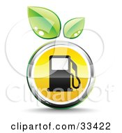 Clipart Illustration Of Two Green Leaves Above A Chrome And Yellow Fuel Icon With A Black Gas Pump