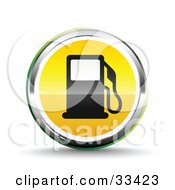 Chrome And Yellow Fuel Icon With A Black Gas Pump
