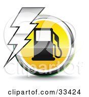 Clipart Illustration Of A Bolt Of Lightning Over A Chrome And Yellow Fuel Icon With A Black Gas Pump