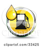 Clipart Illustration Of A Yellow Droplet Over A Chrome And Yellow Fuel Icon With A Black Gas Pump