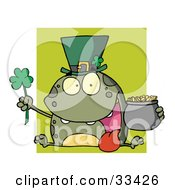 Clipart Illustration Of A Green Leprechaun Frog Wearing A Hat Holding A Clover And A Pot Of Gold In Front Of A Green Square by Hit Toon