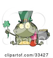Clipart Illustration Of A Green St Patricks Day Leprechaun Frog Wearing A Hat Holding A Clover And A Pot Of Gold