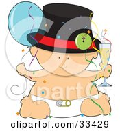 Baby In A Hat And Diaper Holding A Glass Of Champagne And A Balloon Surrounded By Confetti And Streamers At A New Years Party