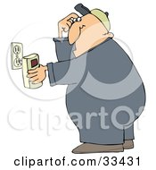 Clipart Illustration Of A Man Scratching His Head While Plugging In A Detector