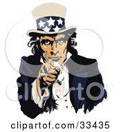 Clipart Illustration Of Uncle Sam Dressed In Blue And White Pointing Outwards On A US Navy Recruiting Poster by JVPD #COLLC33435-0002