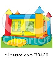 Clipart Illustration Of A Colorful Inflatable Bouncy Castle On Grass by Maria Bell