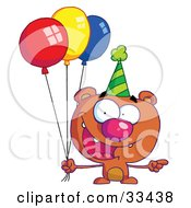 Birthday Bear In A Party Hat Pointing To The Right And Holding Colorful Party Balloons