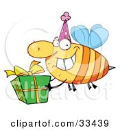 Happy Birthday Bee Wearing A Party Hat And Flying With A Gift