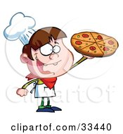 Clipart Illustration Of A Little Pizza Boy Chef Displaying His Perfect Pepperoni Pizza Pie