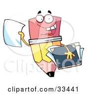 Clipart Illustration Of A Friendly Pencil Holding A Blank Piece Of Paper And A Notebook by Hit Toon