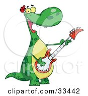 Clipart Illustration Of A Musical Green Dinosaur Rockin Out With A Guitar During A Music Concert by Hit Toon