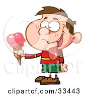Clipart Illustration Of A Little Boy Drooling Over His Delicious Strawberry Ice Cream On A Cone