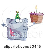 Clipart Illustration Of A Happy Birthday Elephant In A Party Hat Holding Up A Cake With A Lit Candle
