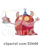 Excited Birthday Monster Wearing A Party Hat And Holding A Slice Of Cake Screaming And Holding An Arm Up