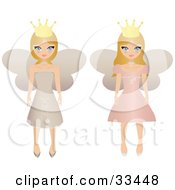 Two Blond Fairy Princesses In Beige And Pink Dresses Wearing Crowns