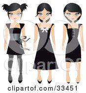 Three Black Haired Teen Girls In Different Styled Black Dresses On A White Background