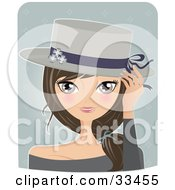 Clipart Illustration Of A Pretty Brunette Woman Tipping Her Spring Styled Hat On A Blue Background